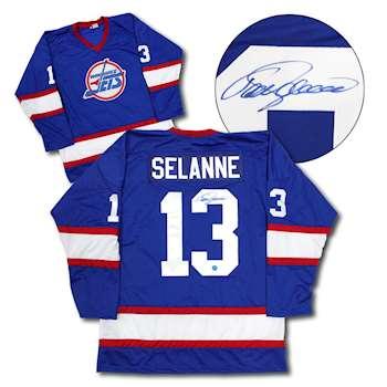 b730580691e Teemu Selanne Winnipeg Jets Autographed Custom Hockey Jersey ...