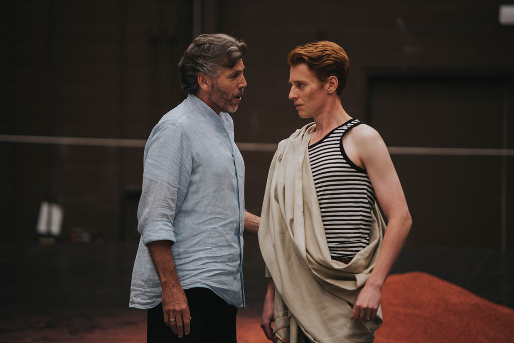 Thomas Hampson and Isaiah Bell rehearsing a scene from Hadrian, photo: Gaetz Photography