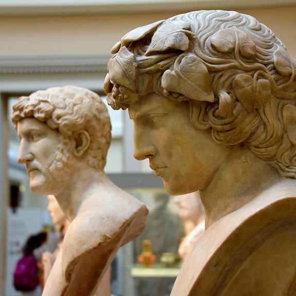 Marble busts of Hadrian and Antinous at The British Museum