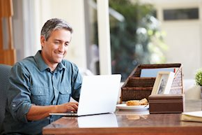 Man studying Business Administration Accounting remotely