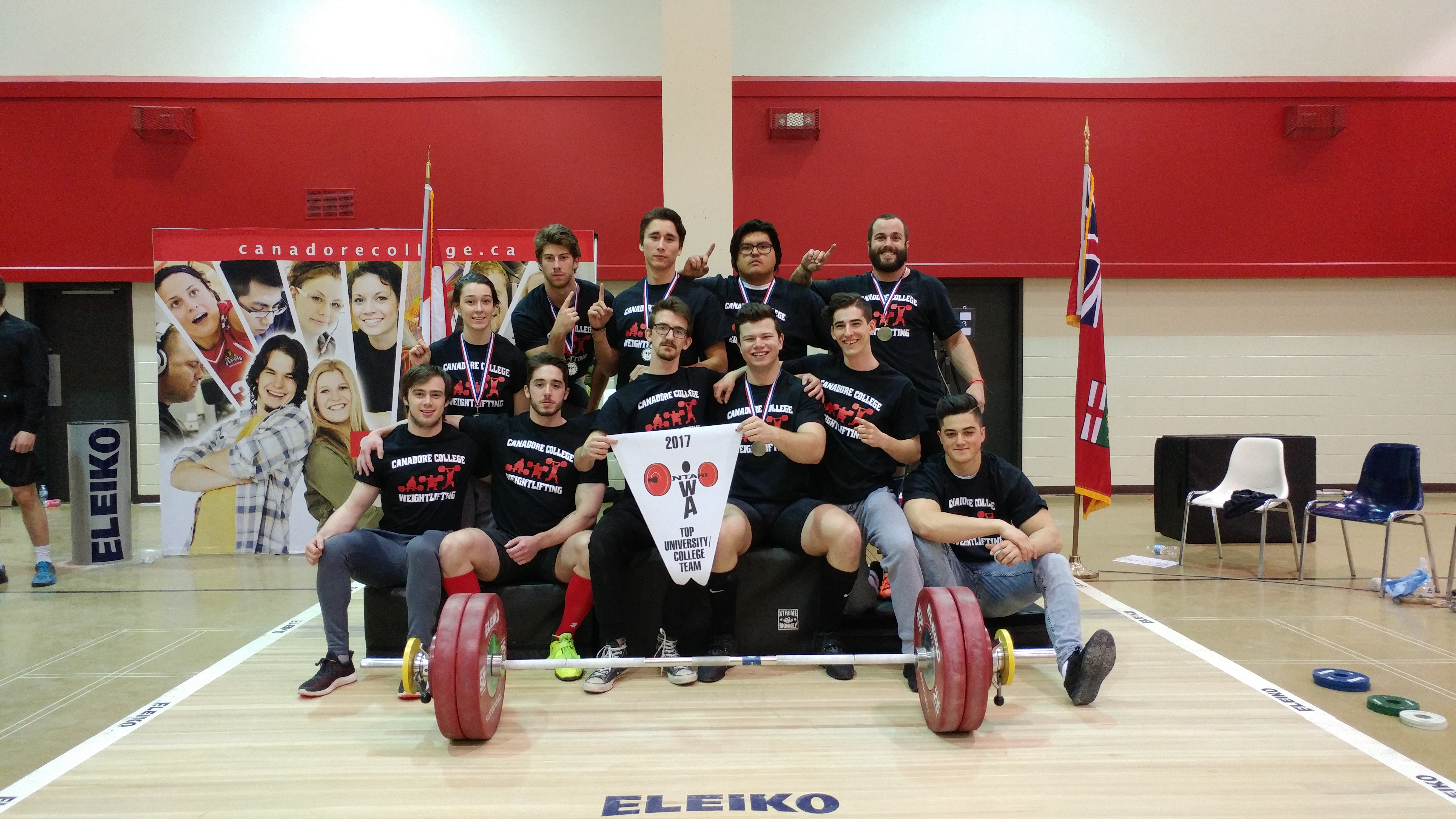 Group of weightlifting students