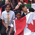 students with flags outdoors