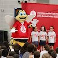 Students with Bumble the EMSB mascott