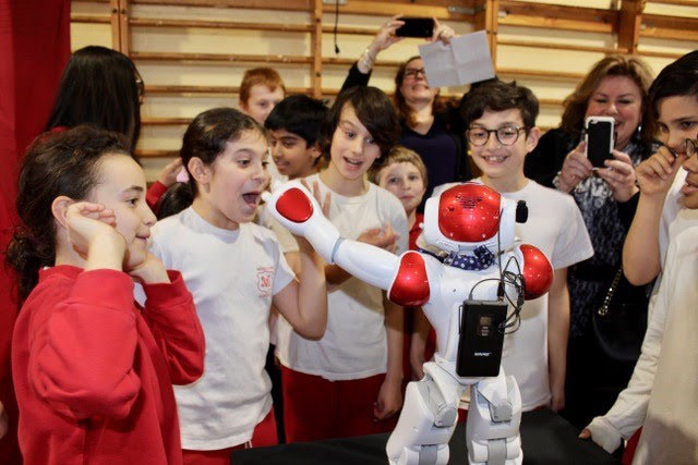 Nao the robot interacting with students