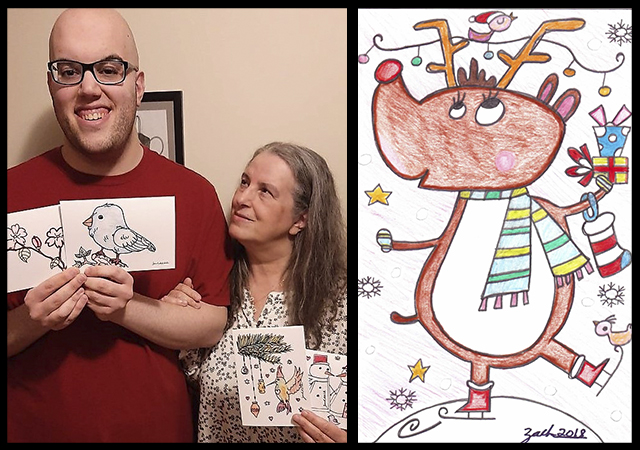 Zach Reisman and Lorri Benedik of Zach Designs share their selection of cards. (Photo, Manny Reisman)