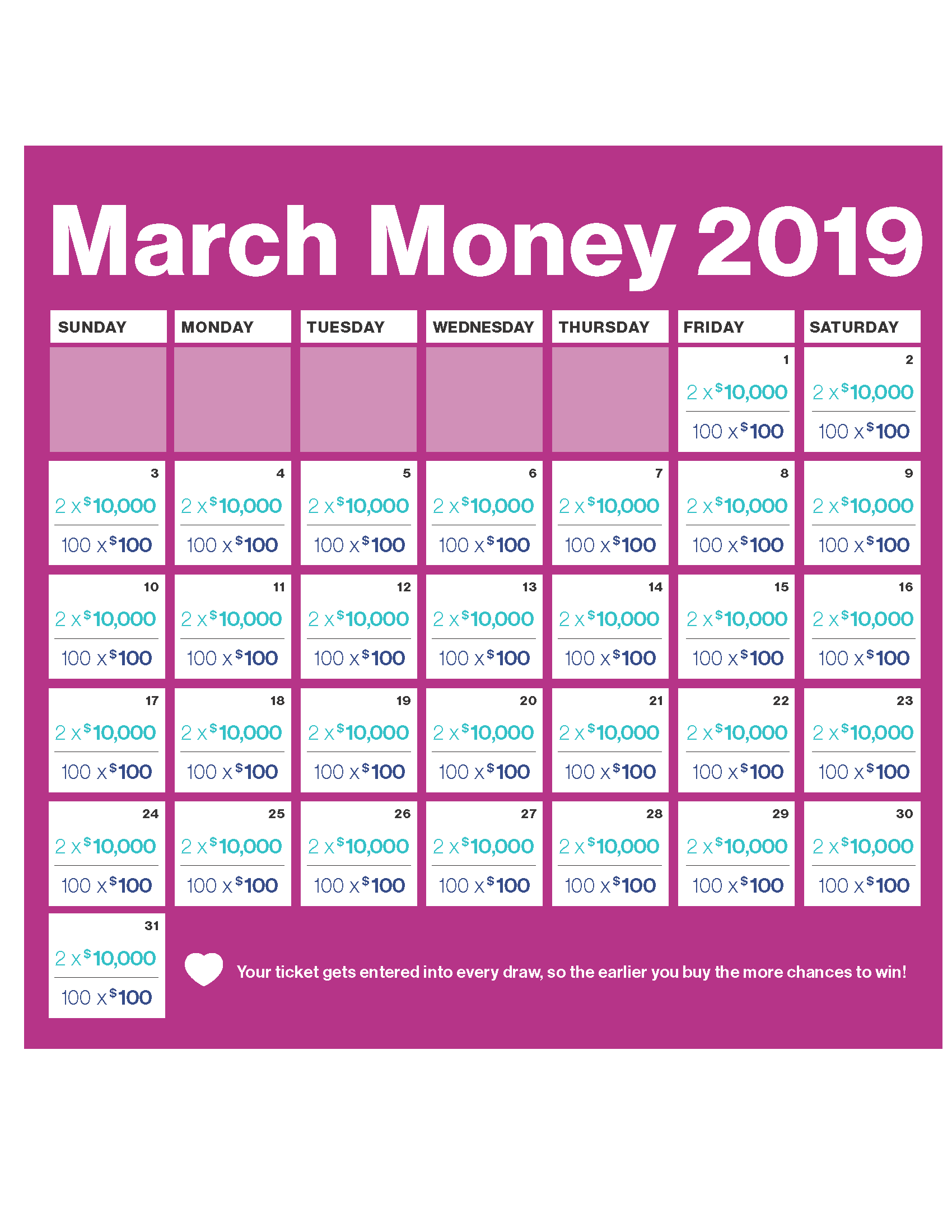 Heart And Stroke Calendar 2019 Heart and Stroke March Money Lottery 2019 | Check Your Tickets
