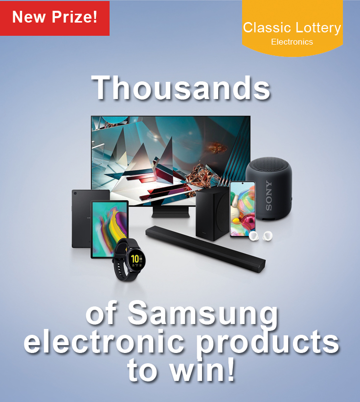 Over 57,000 Cash Prizes, and hundreds of electronics to be WON!