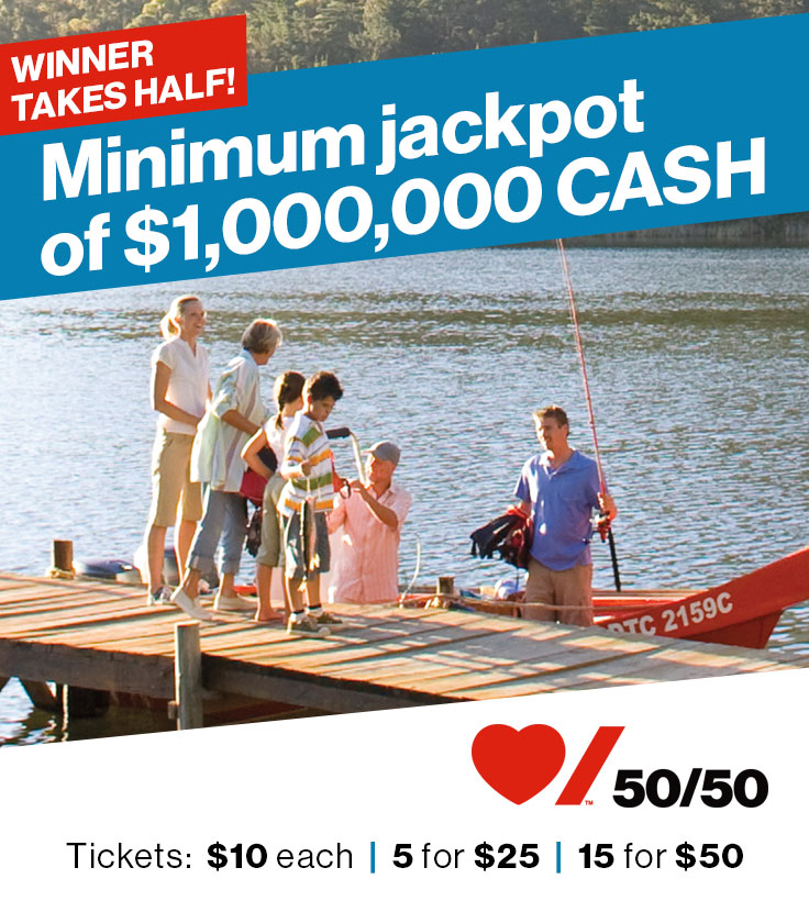 50 50 Draw Minimum Jackpot of $1,000,000 Cash!