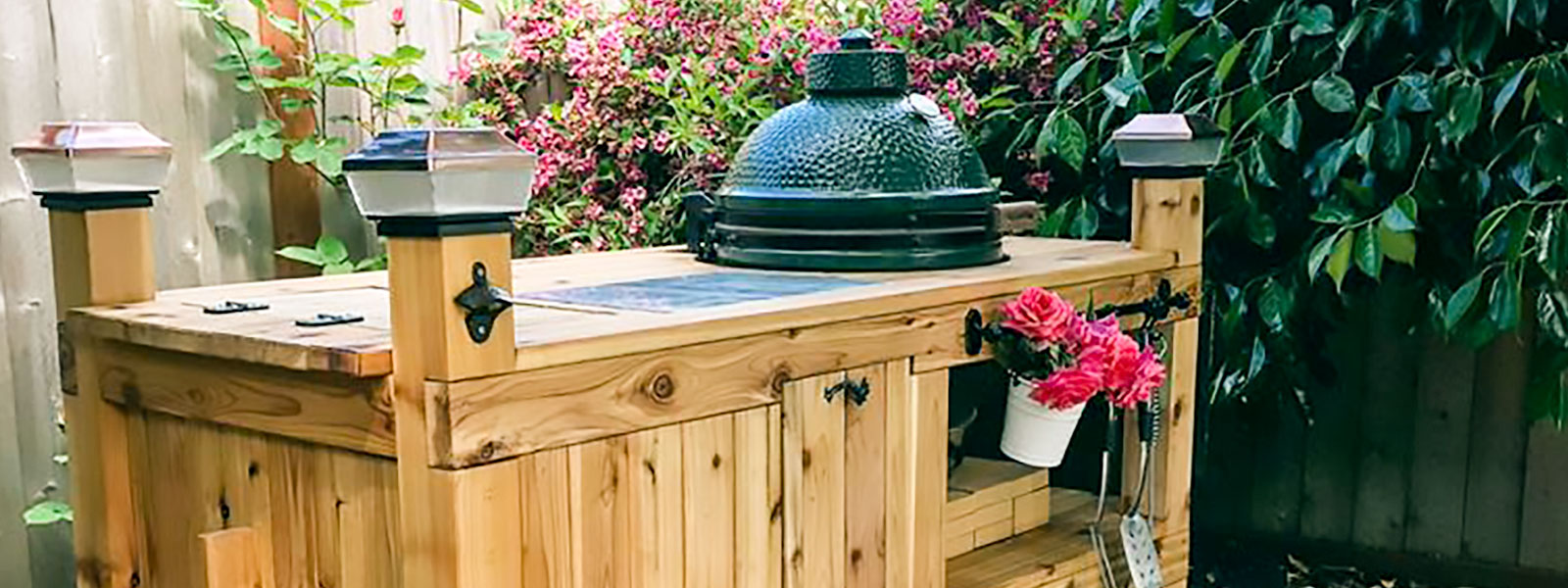 Big Green Egg in custom-built table