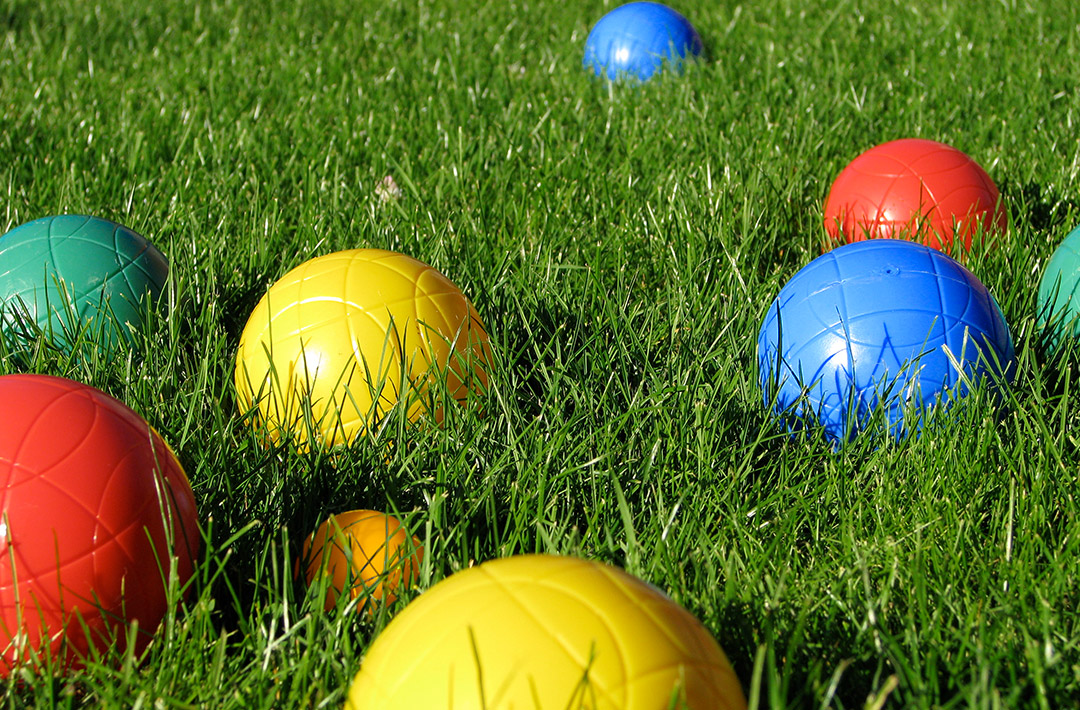 Bocce set in the lawn
