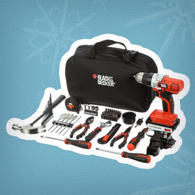 Give the gift of DIY with a Black+Decker® 20v Max Cordless Drill Kit, 65 tools and carrying bag