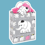 A goofy white elephant motif decorates this gift bag from Seattle's own Archie McPhee