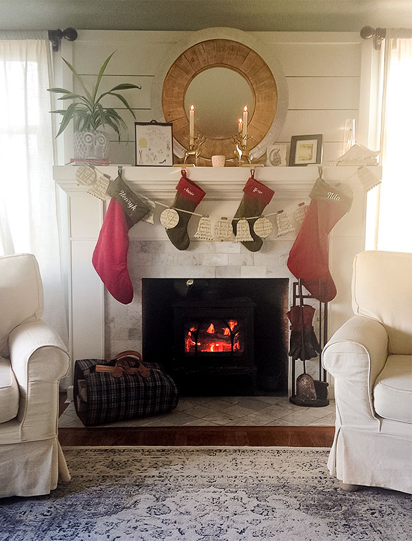 Finished product: Shiplap over the fireplace