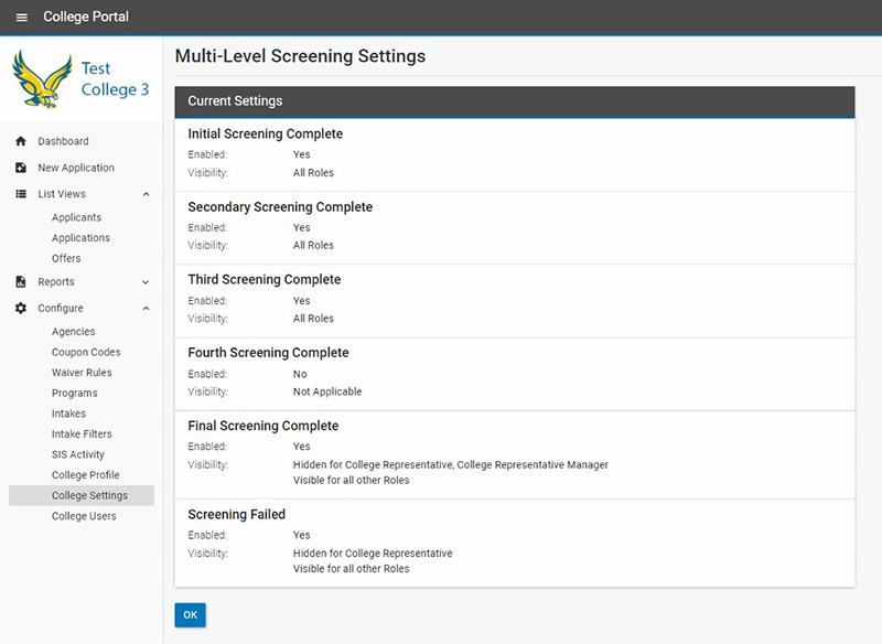 Multi-Level Screening Settings