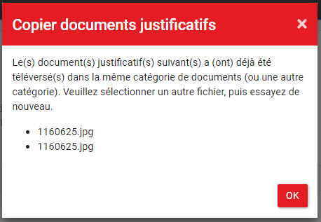 Copier documents justificatifs