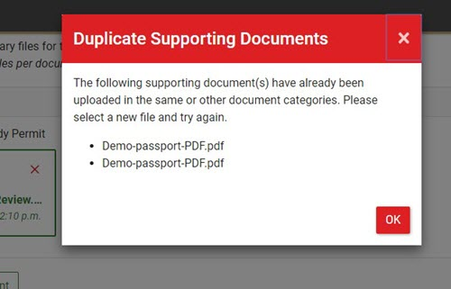 Warning for duplicate Supporting Documents