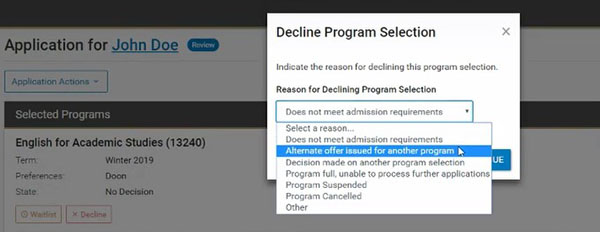 Decline Program Selection