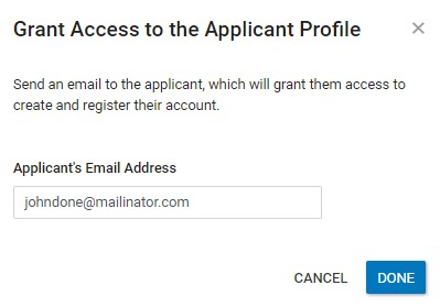 Grant Access to the Applicant Profile