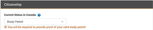 Proof of Study Permit is required