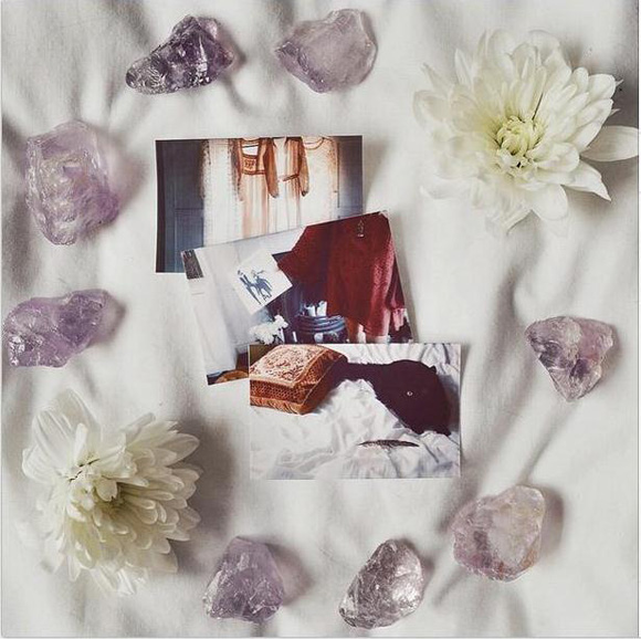 collection of three photos with flowers and rocks