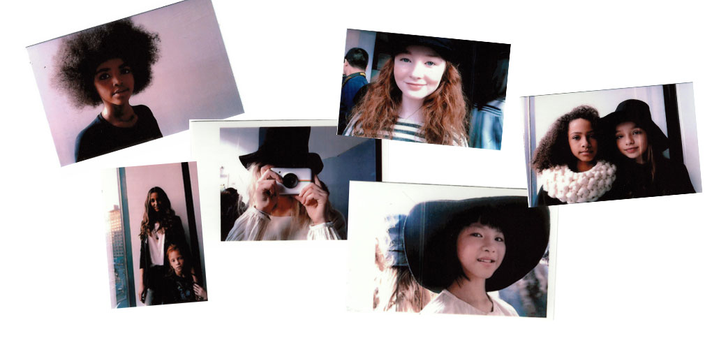 collage of photos of girl and Polaroid Snap camera