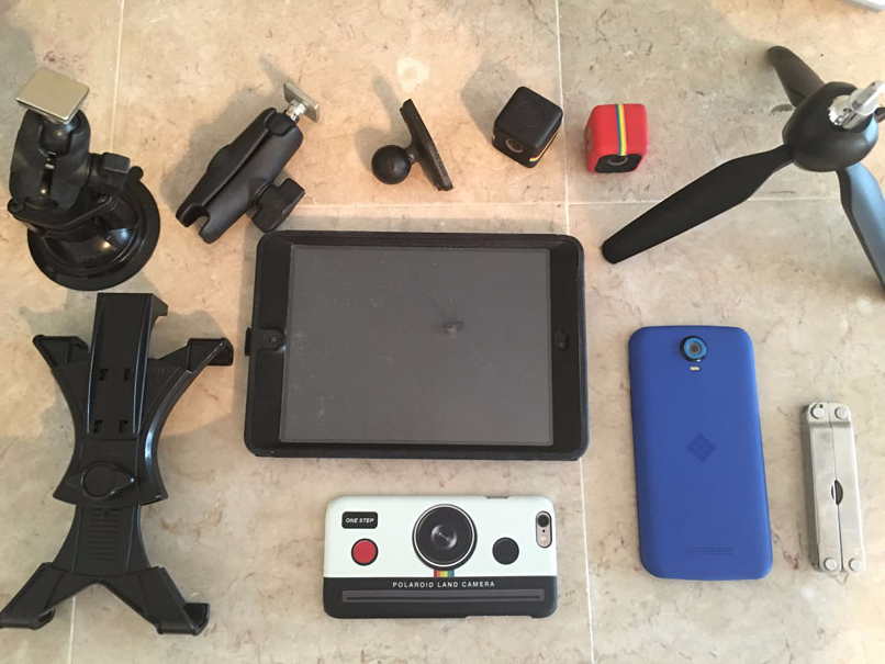 Polaroid Land Camera with other camera accessories