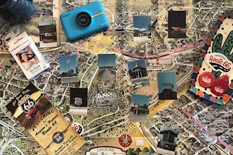Flat-lay of route 66 with Polaroid Snap Touch