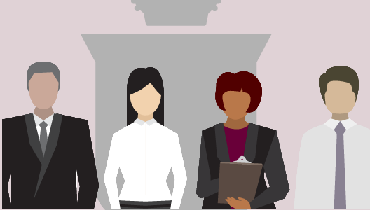 Illustration: Group of four people dressed in business casual clothing, RCDSO crest