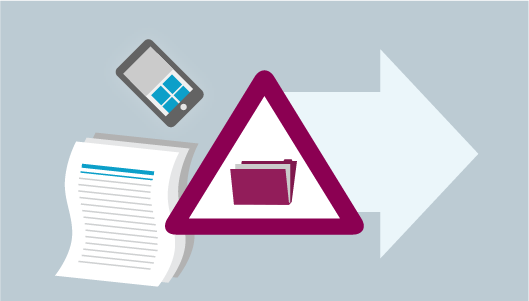 Illustration: File folder in a triangle, with mobile phone, paperwork and a large arrow outside of the triangle.