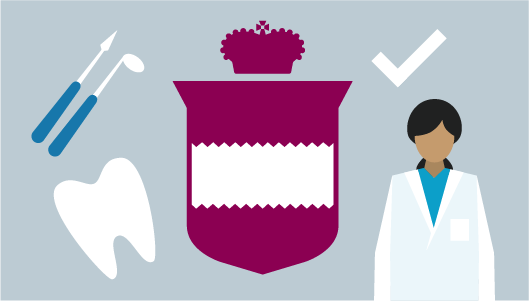 Illustration: College crest, female dentist, dental tools, checkmark and tooth.