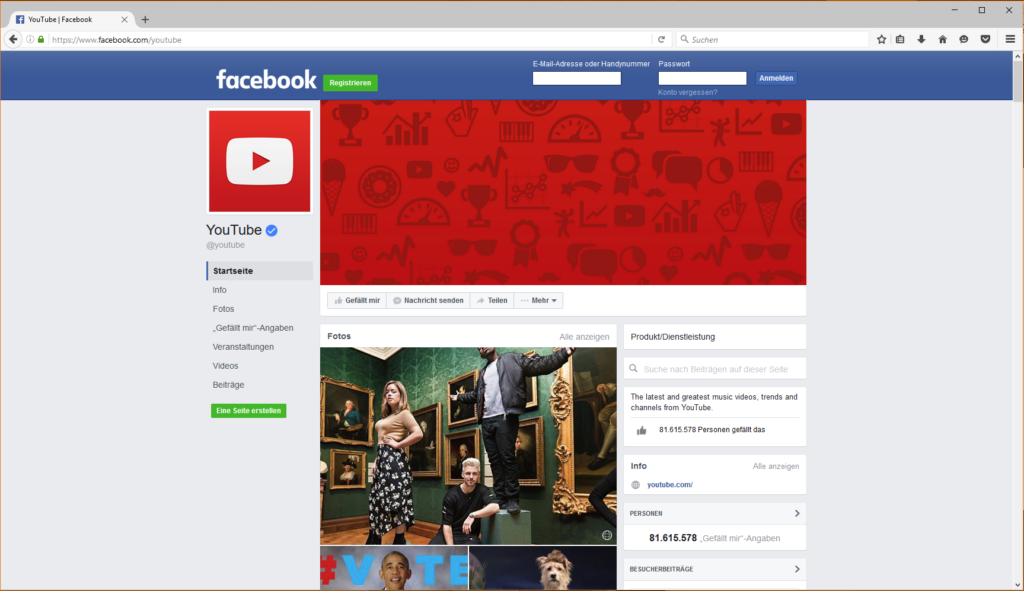facebook youtbe page