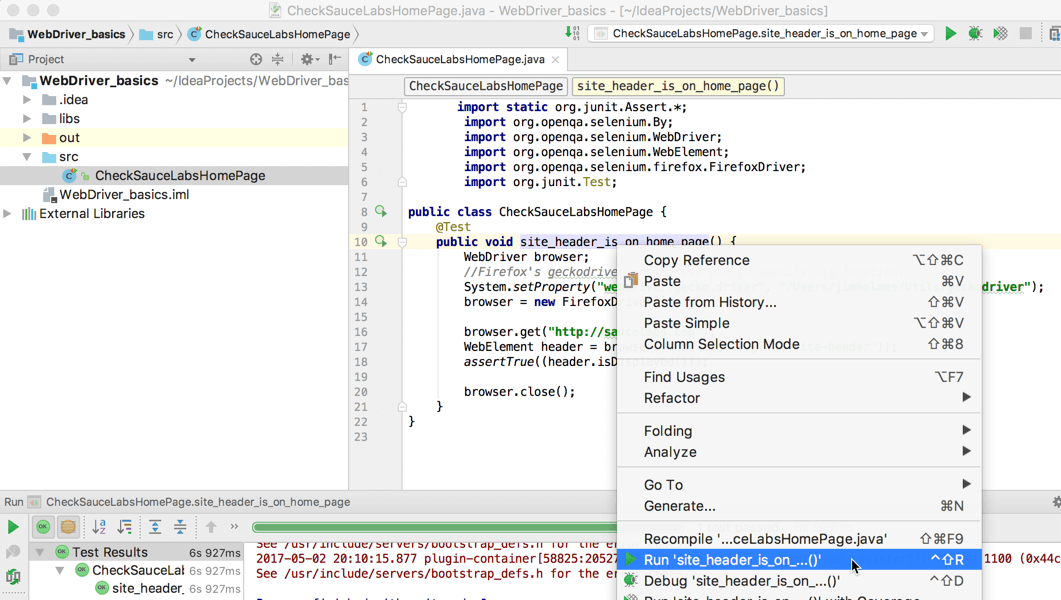 Getting Started with WebDriver in Java Using IntelliJ on OSx | Sauce