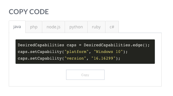 Snippet of Code from Platform Configurators Page