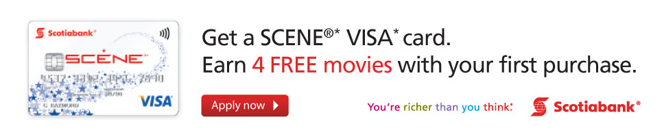 Get a SCENE® VISA* card. Earn 4 FREE movies with your first purchase.