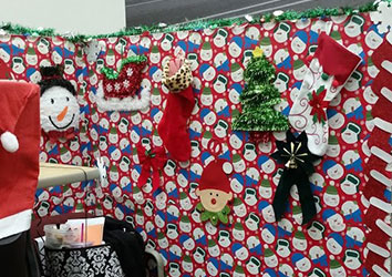 Customer Service Associates Cube filled with christmas decor