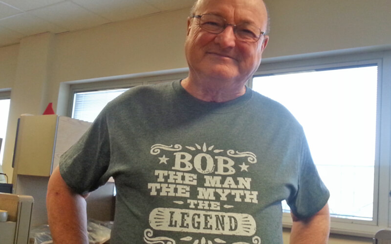 Bob Wyatt wearing legend shirt