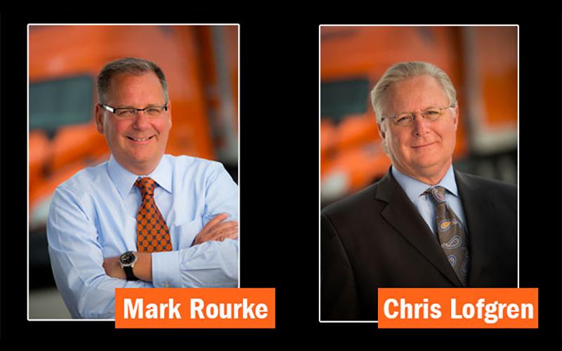 Schneider CEO Chris Lofgren and future CEO Mark Rourke