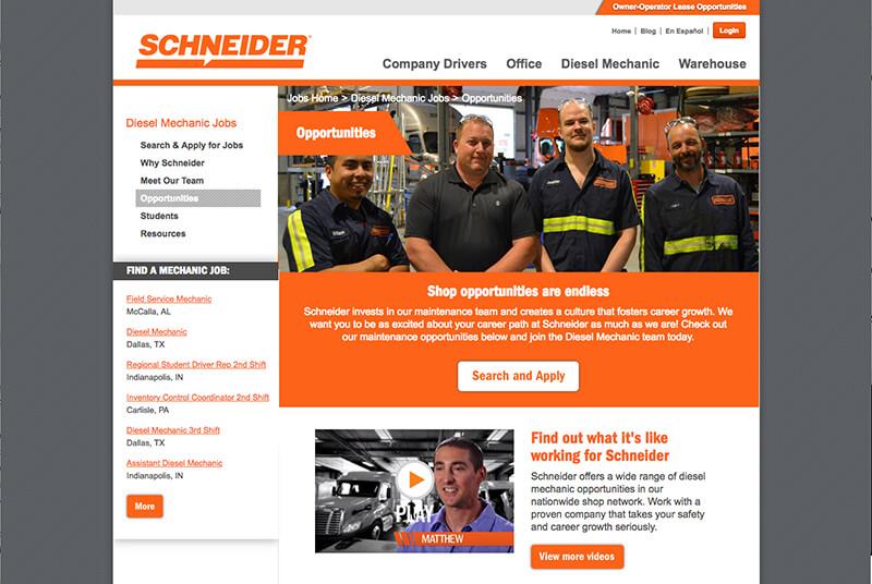 Schneider Diesel mechanic webpage