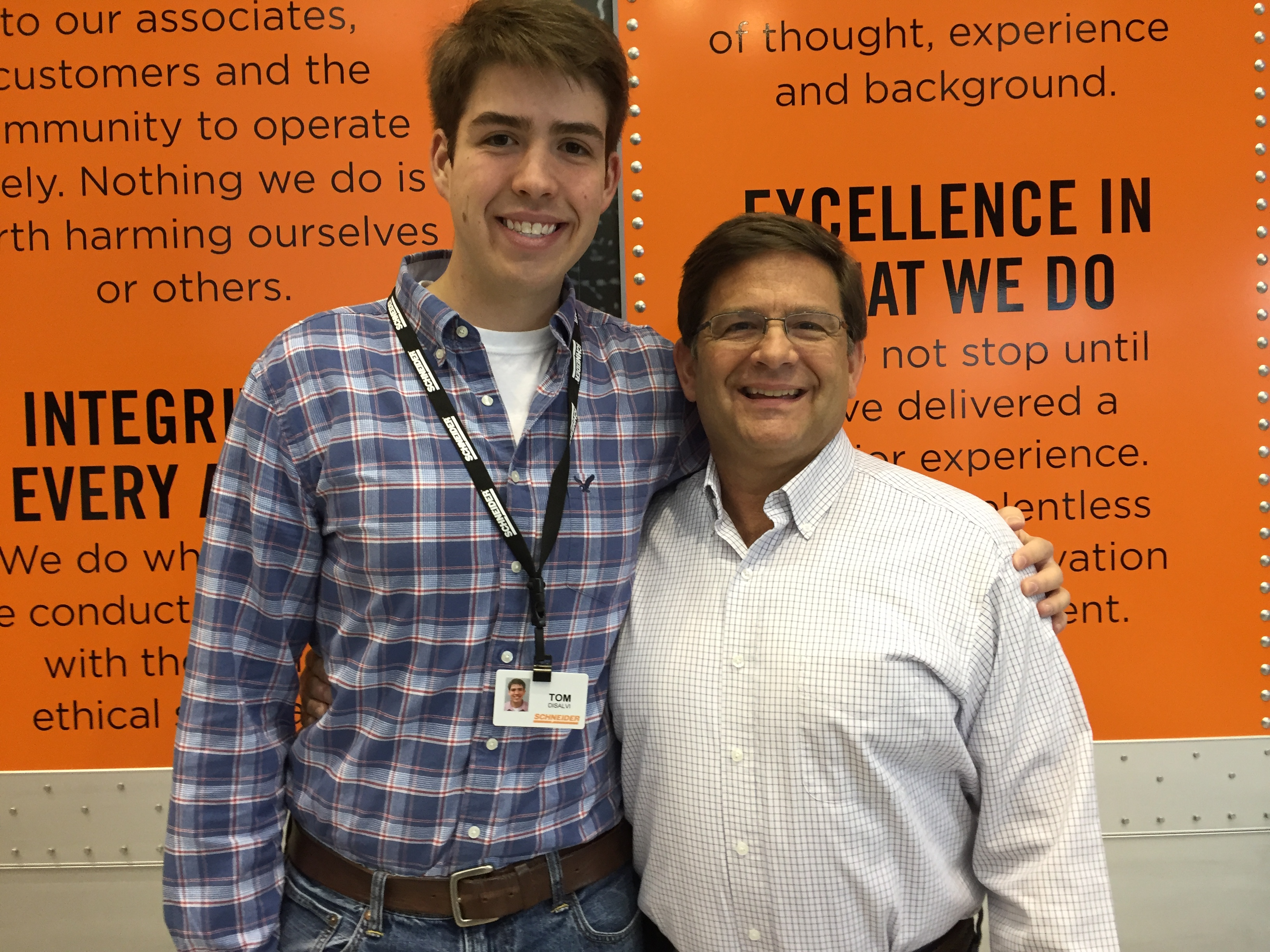 Father and son: Tom DiSalvi (right), Schneider's Vice President of Safety and Loss Prevention, and Thomas DiSalvi, a Paralegal Intern at Schneider