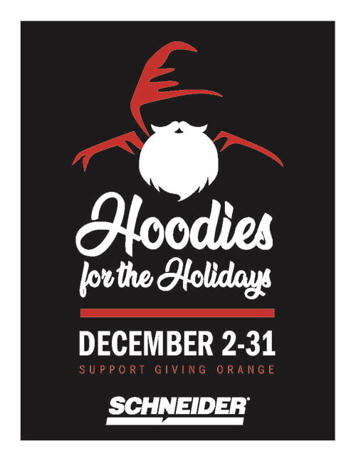 Schneider's Hoodies for the Holidays campaign poster