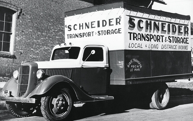 Schneider truck in front of NeighborWorks