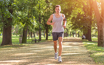 Man running in park