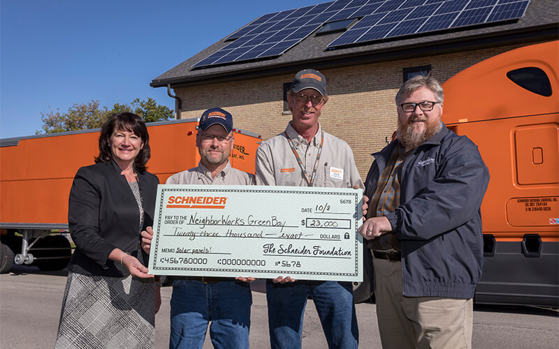 Schneider Foundation presents check