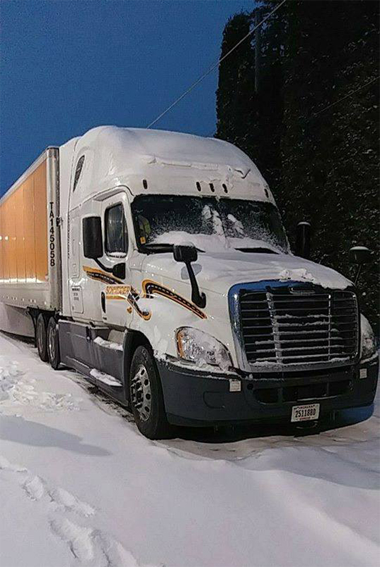 Schneider Truck Driving In Snow