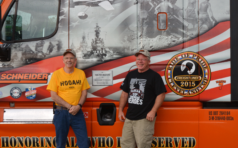 Schneider Veterans Jay and Chip in Front of 2015 Ride of Pride Truck