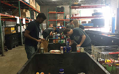 Schneider interns sort food