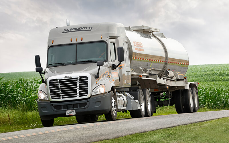 Schneider Tanker drivers are moving agrochemical product from plants to farms.