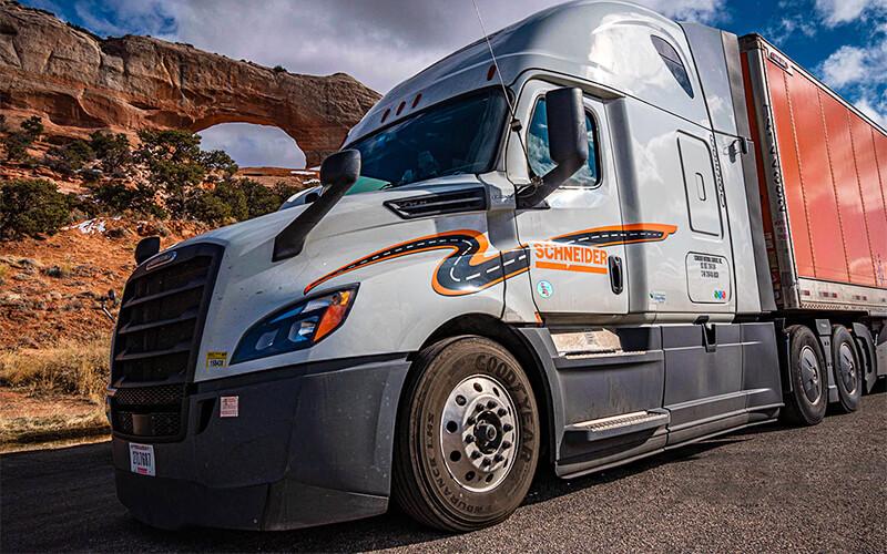 Schneider tractor-trailer in desert