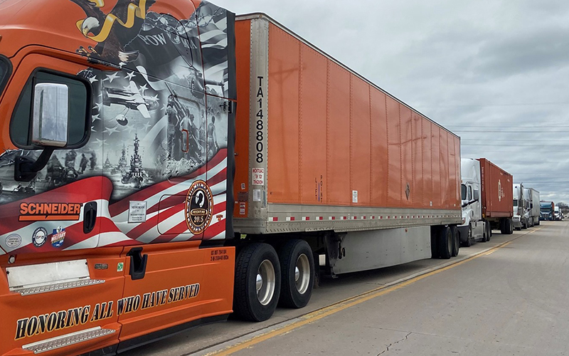 Truck drivers performing essential work