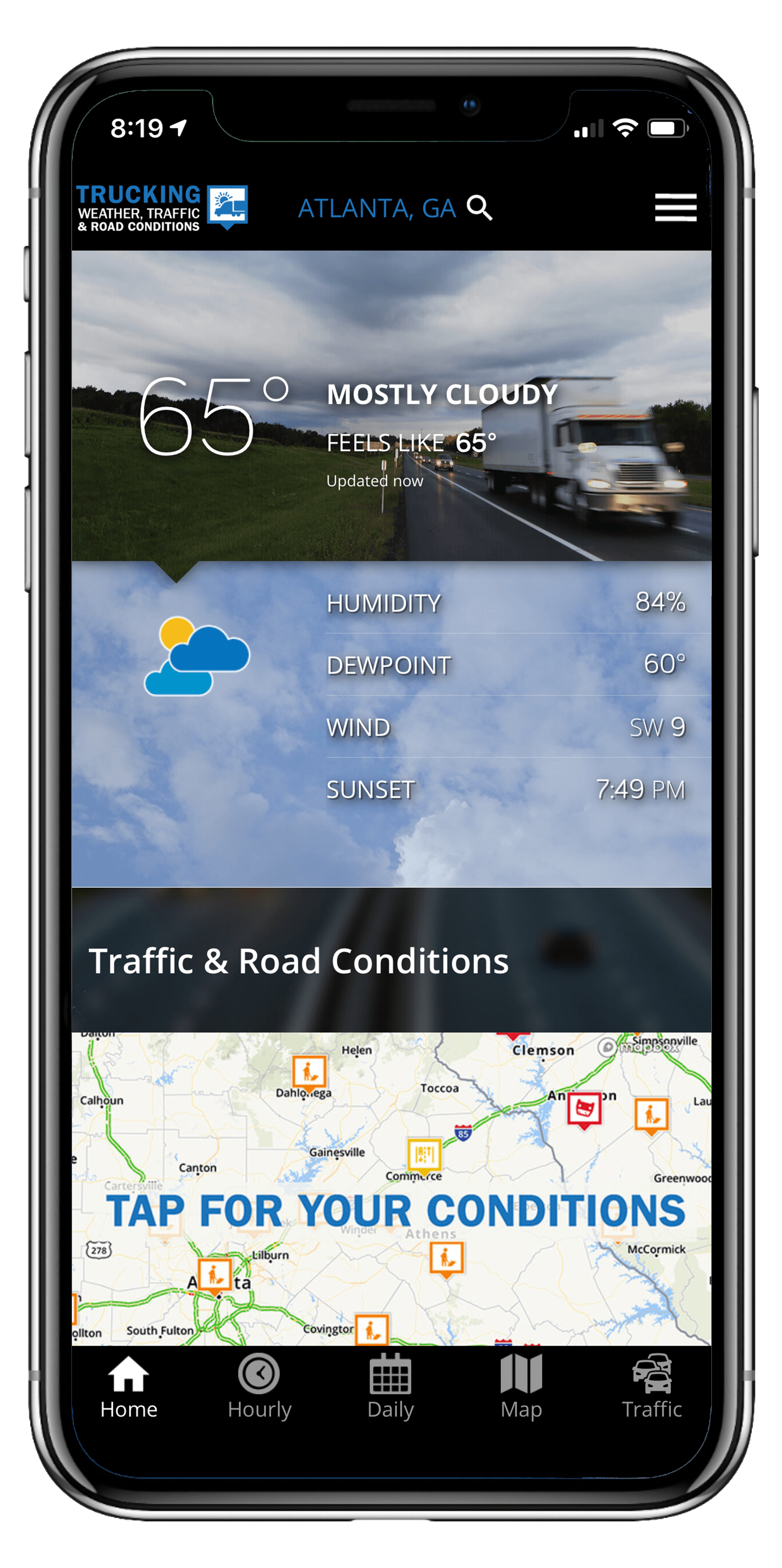 Truck driver weather app curent weather conditions info